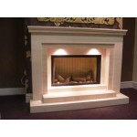 Vallant Limestone and Mocha Creme Fireplace & Fire