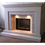 Signature Limestone and Mocha Creme Fireplace & Fire