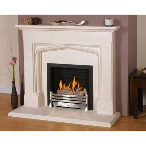 Newman Tudor Carved Limestone Fireplace