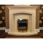 Denton Limestone and Mocha Creme Fireplace