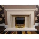 Nevada Limestone and Mocha Creme Fireplace