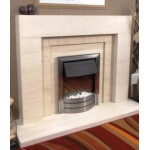 Henge Limestone and Mocha Creme Fireplace