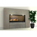 Wedge Limestone and Travertine Fireplace & Fire