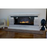 Armonia Limestone and Travertine Fireplace & Fire