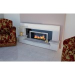 Boudica Limestone and Travertine Fireplace & Fire