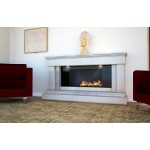 Fascination Limestone and Travertine Fireplace & Fire
