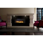 Imagination Limestone and Travertine Fireplace & Fire
