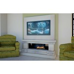 Media Travertine and Limestone Fireplace & Fire