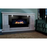 Sabre Travertine and Limestone Fireplace & Fire