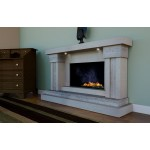 Sinfonia Travertine and Limestone Fireplace & Fire