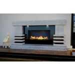 Tier Limestone and Travertine Fireplace & Fire