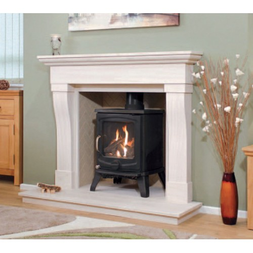Newman Beja Limestone Fireplace and Stove