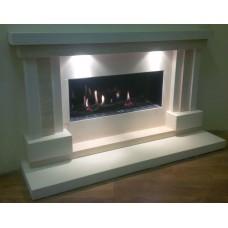 Arcadia Limestone and Travertine Fireplace & Fire
