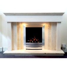 Eclipse Travertine and Limestone Fireplace