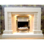 Square Wrox Travertine and Limestone Fireplace