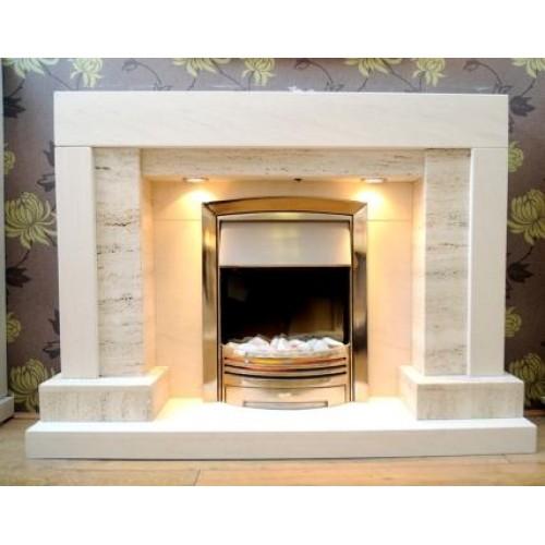 Square Wrox Travertine and Limestone Fireplace
